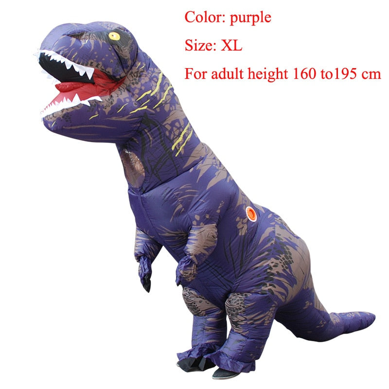 Costbuys  Adult  T-REX Inflatable Costume Christmas Cosplay Dinosaur Animal Jumpsuit Halloween Costume  Men - purple size XL / T