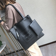 2Pc/set Top-Handle Women Handbag with Purse Female Shoulder Messenger Bags New Design PU Leather Letter Casual Tote