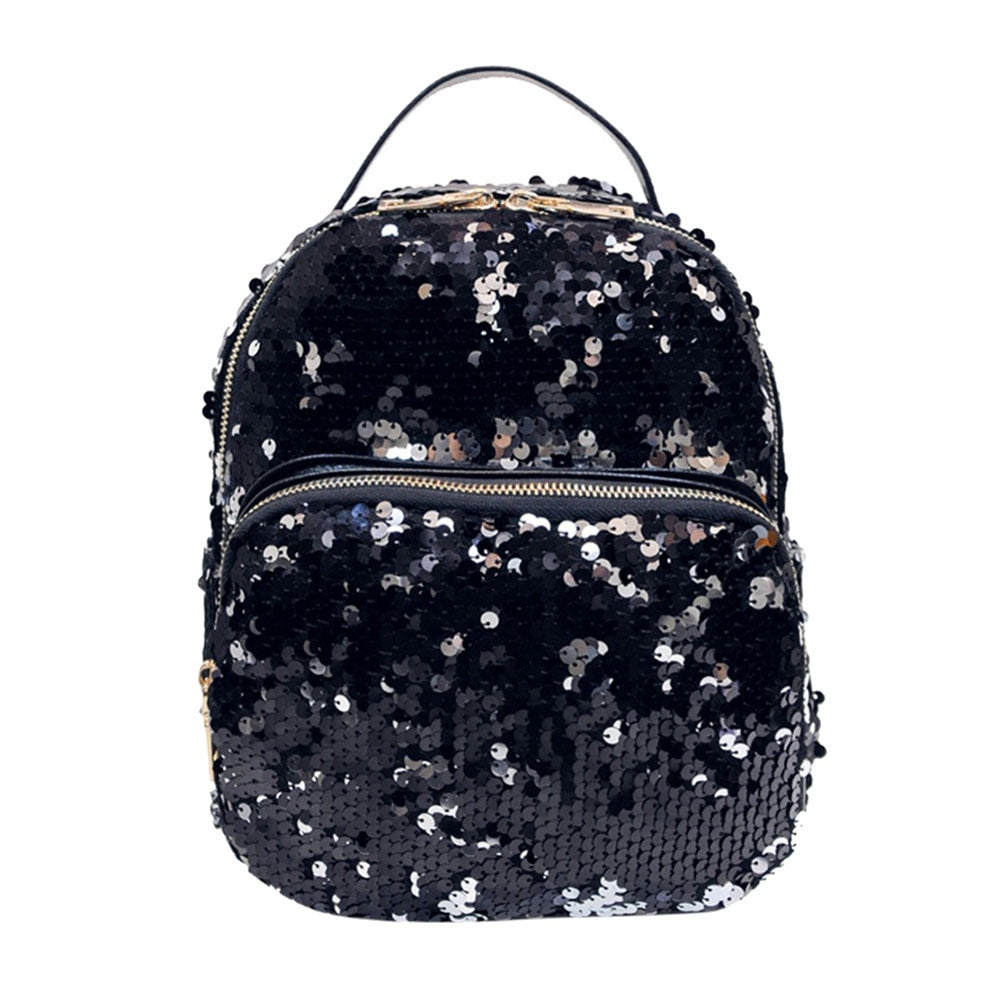 Costbuys  Women All-match Bag Women Backpack Fashion Korean PU Leather Sequins Small Bling Backpacks - Black / China