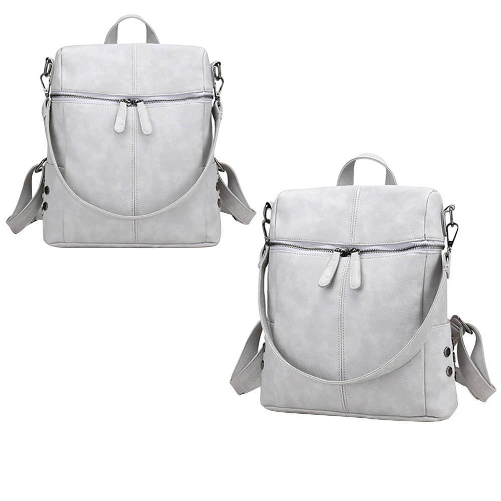 Costbuys  Simple Style Backpack Women PU Leather Backpacks For Teenage Girls School Bags Fashion Vintage Solid Shoulder Bag - Gr