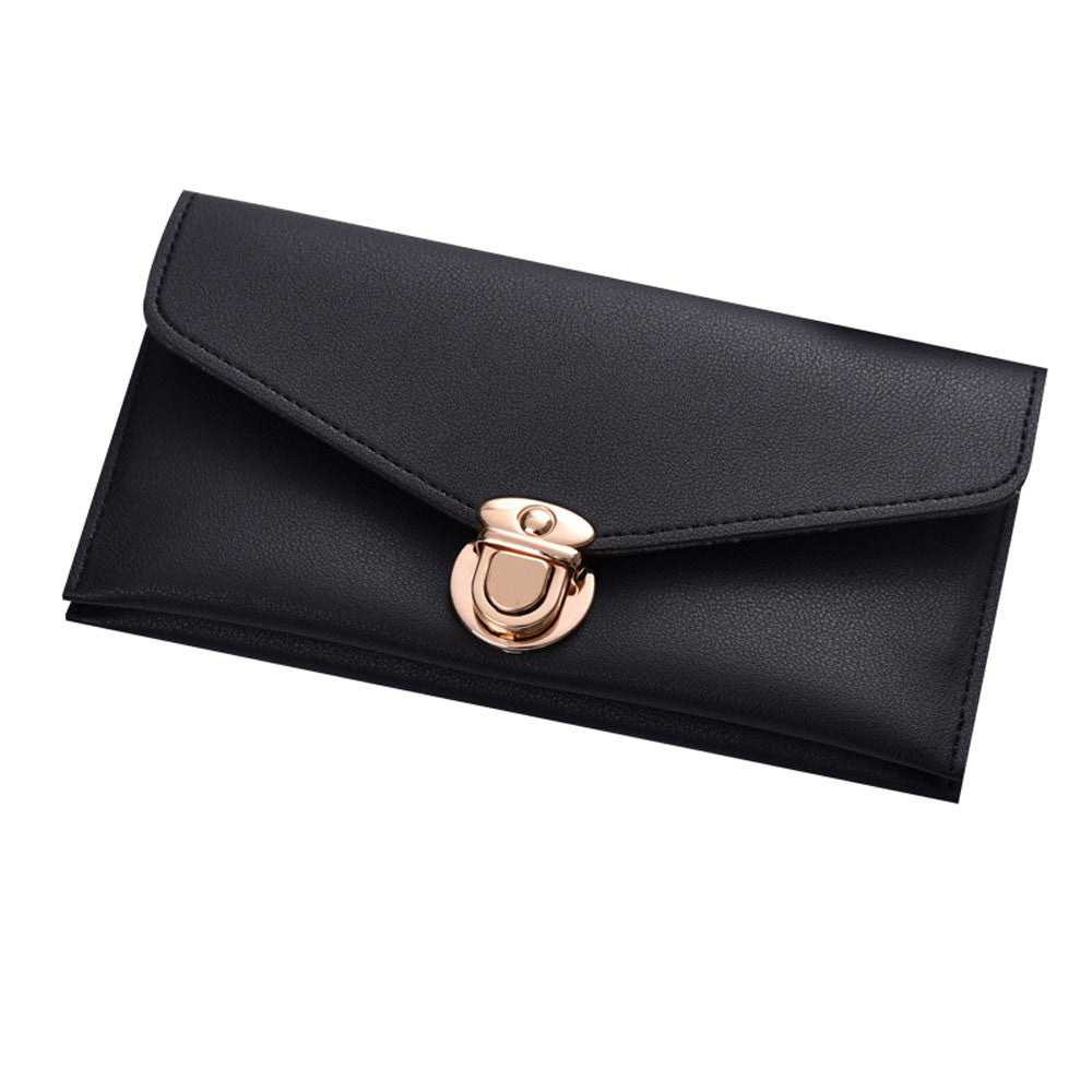 Costbuys  Wallet Women Large Capacity Fashion Leather Wallet for Women Clutch Bags Long Coin Purse Female Phone Card Holder - Bl