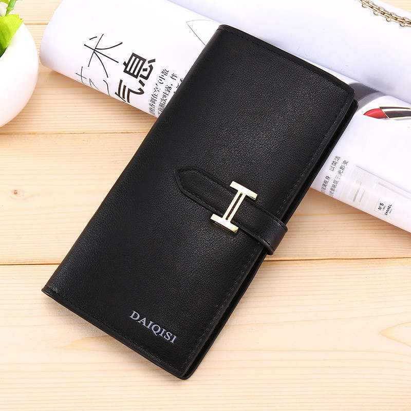 Costbuys  Women Wallet Bag Luxury Ladies Casual Leather Hasp Pouch Clutch Solid Small Female wallet women large capacity - Black