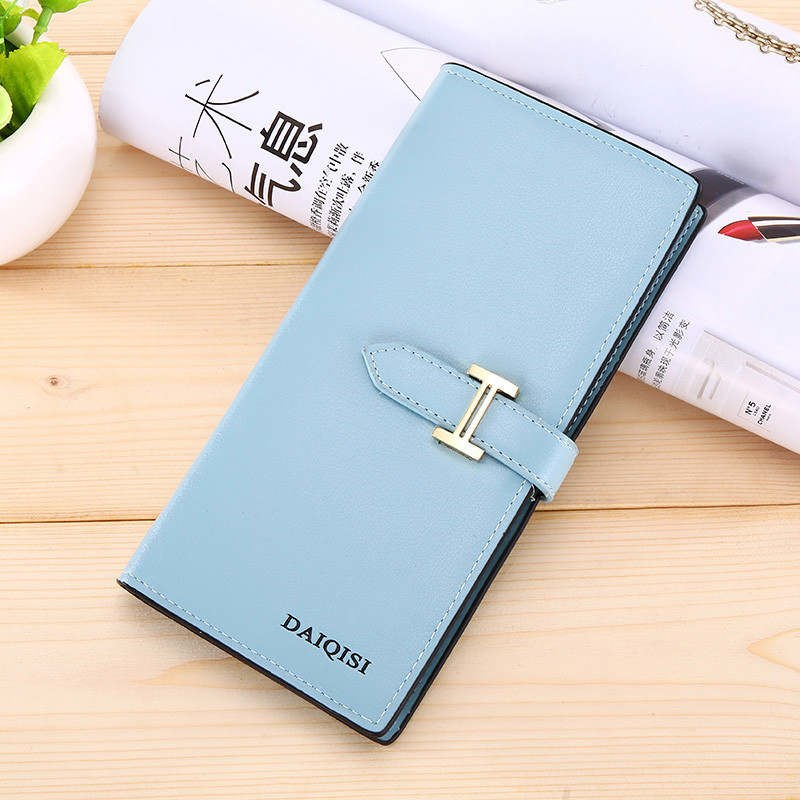 Costbuys  Women Wallet Bag Luxury Ladies Casual Leather Hasp Pouch Clutch Solid Small Female wallet women large capacity - Blue