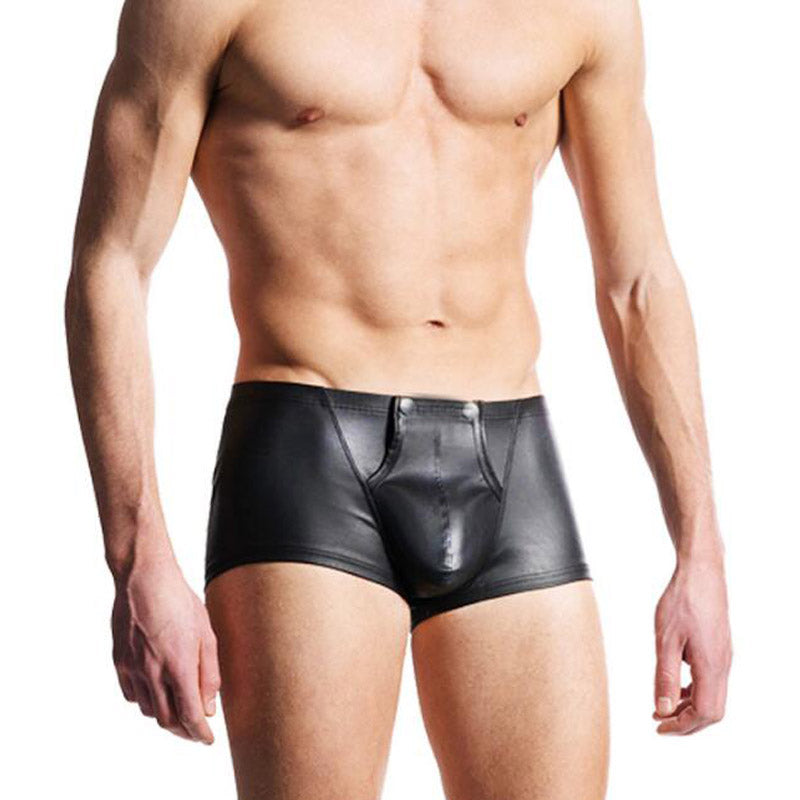 Mens Faux Leather Underwear Sexy Penis Pouch Boxers Shorts Underpants Low  Waist Gay Clubwear Leather Boxers Lingerie