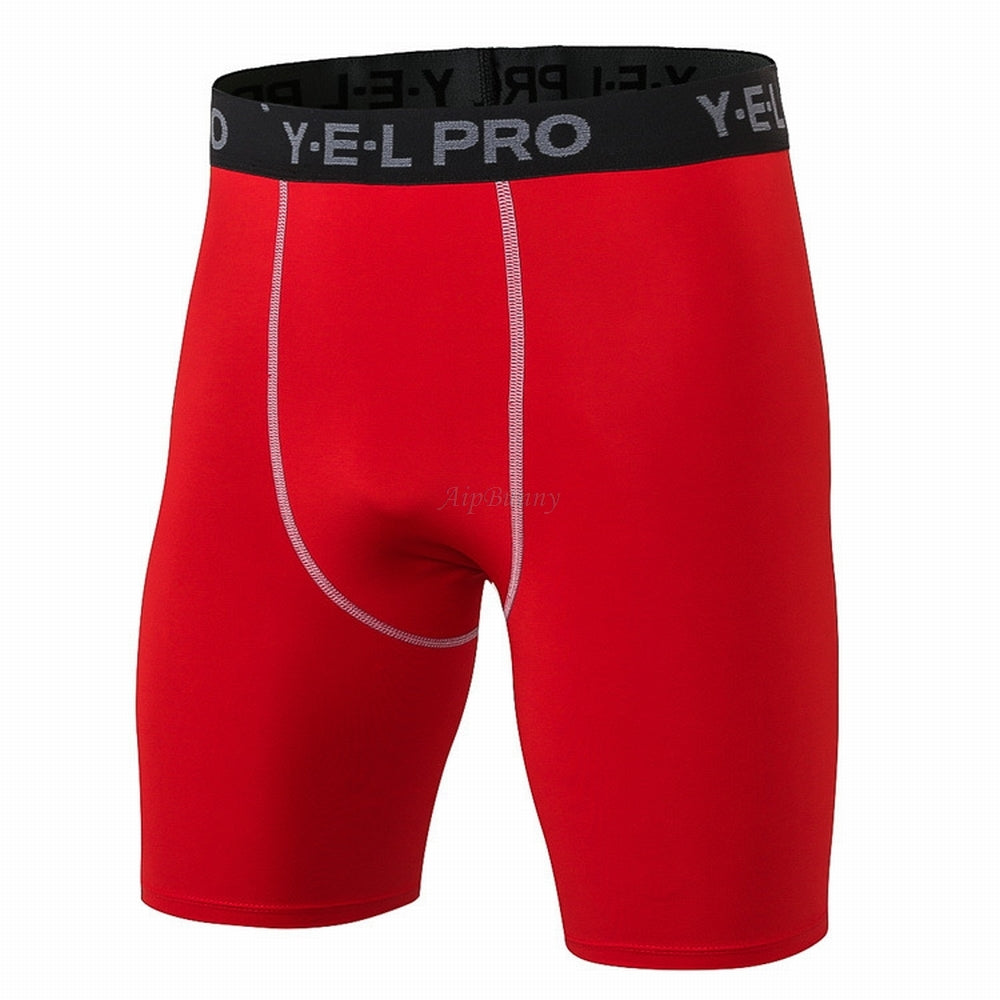 Costbuys  High Quality Tight Elastic Yoga shorts for Men Sports Fitness Gym Jogger Workout Quick drying Five Sweatpants - Red /