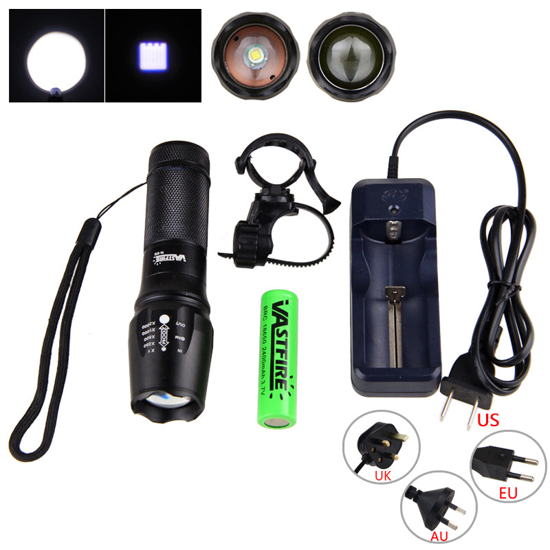 Costbuys  Aluminum Zoomable Flashlight XML T6 LED Bike Head Light 5 Modes Cycling Torch Bike Accessories Set for Riding