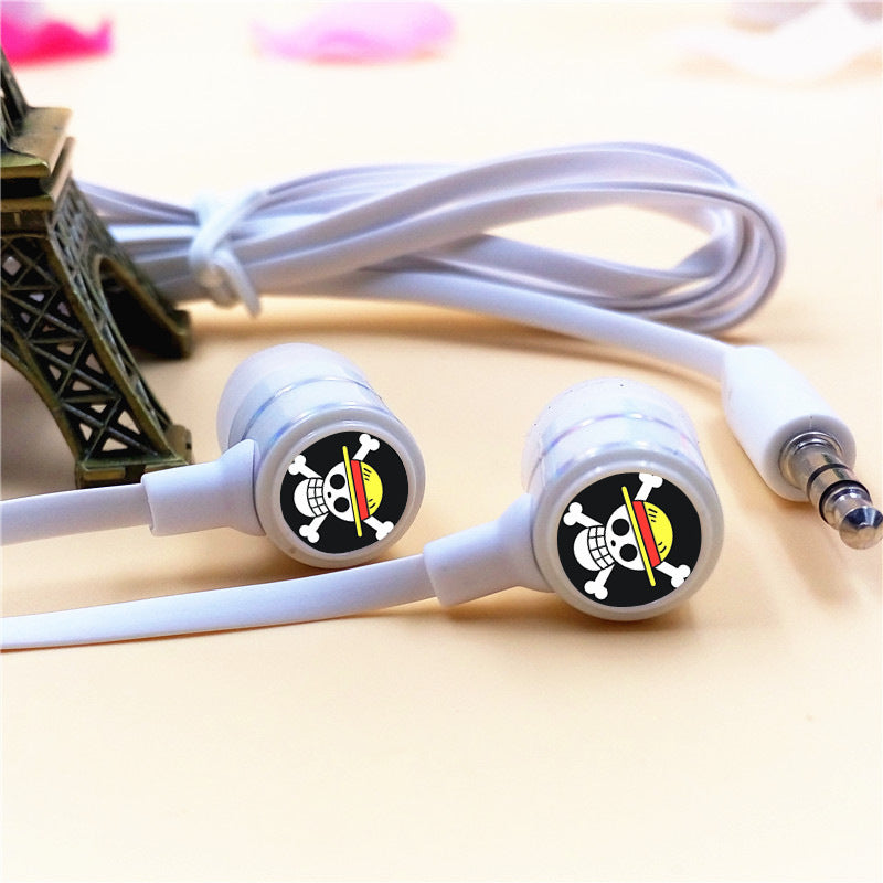 Costbuys  Anime One Piece Luffy Skull In-ear Earphone 3.5mm Stereo Earbuds Microphone Phone Music Headset for Iphone Samsung Xia