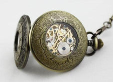 Antique Mechanical Bronze Skeleton Pocket Chain Watch