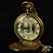 Antique Pure Copper Cover Skeleton Pocket Watch