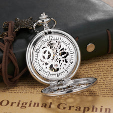 Antique Skeleton Mechanical steampunk Pocket Watch vintage gift Men Chain Necklace Casual Pocket Fob Luxury watch