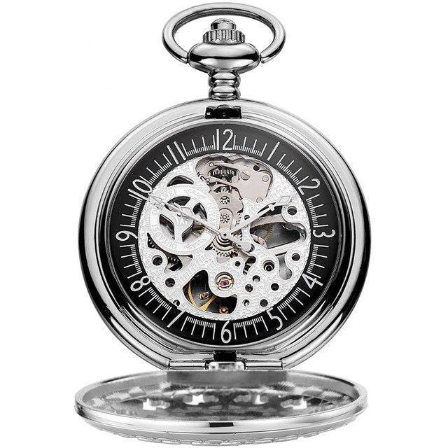 26119e500 Antique Skeleton Mechanical steampunk Pocket Watch vintage gift Men Chain  Necklace Casual Pocket Fob Luxury watch