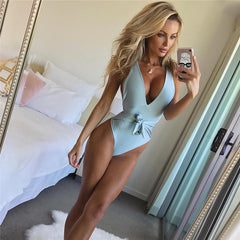 Bandage One Piece Swimsuit Sexy Plus Size Swimwear Low Bust Swimming Suit Women Bathing Suit Beachwear