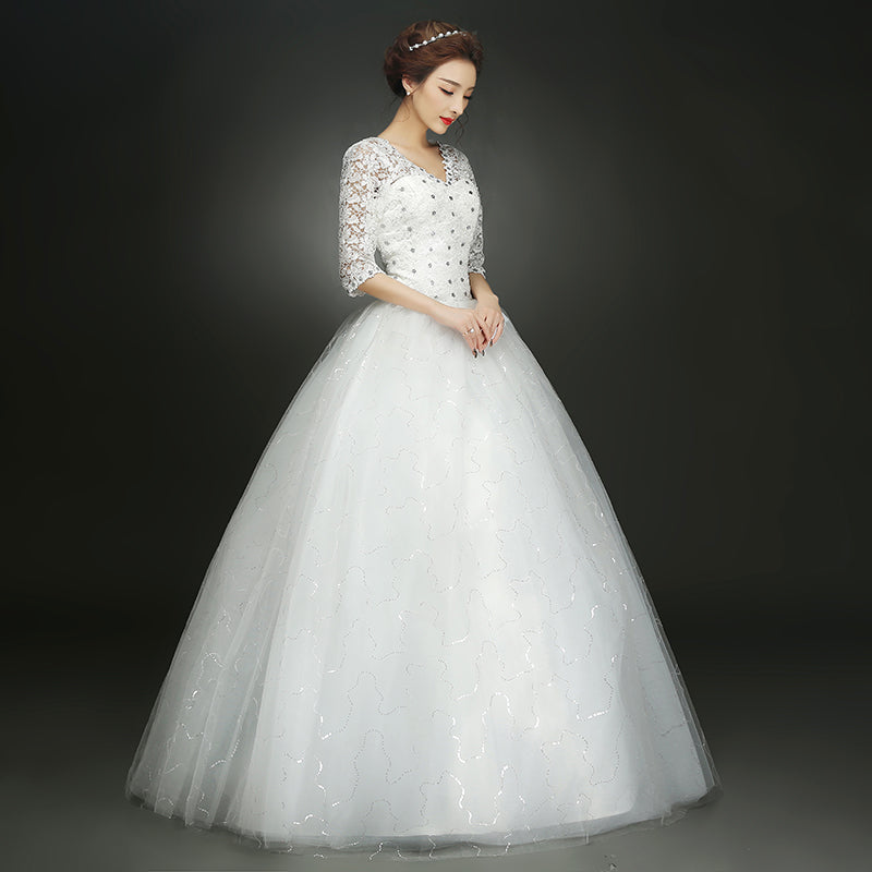 Autumn White New Arrived Half Lace Sleeve Plus Size Wedding Dress