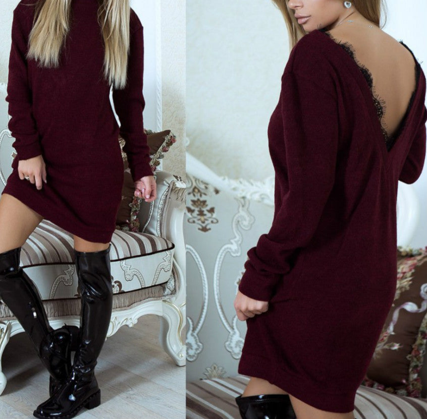 Costbuys  Ladies Elegant Sexy Backless Lace Women Dresses Solid Long Sleeve Mini Dress - Wine Red / XL