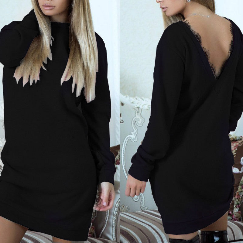 Costbuys  Ladies Elegant Sexy Backless Lace Women Dresses Solid Long Sleeve Mini Dress - Black / M