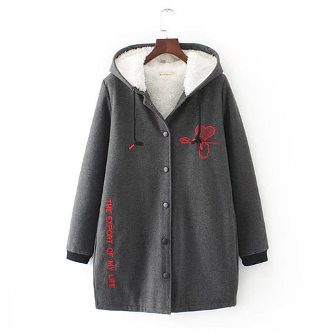 Fashion Women Hoodies Cotton Autumn Winter Coat Long Sleeve Plaid cotton Hoodies Casual button hooded Sweatshirt Oversize