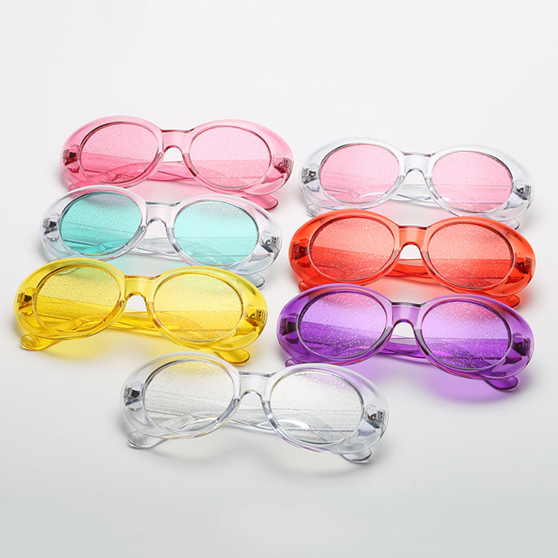 a45f6e1d73c0 New Trending Candy Colors Women Oval Sunglasses Fashion Men Glitter Tr –  Costbuys