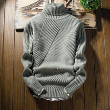 Fashion Classic Solid Color Turtleneck Sweater Men Winter Thick Warm Pullover Men Slim Fit Pull Homme