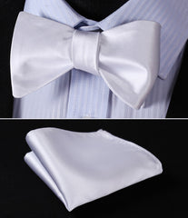 White Solid Bowtie Men Silk Self Bow Tie handkerchief set Pocket Square Classic Party Wedding