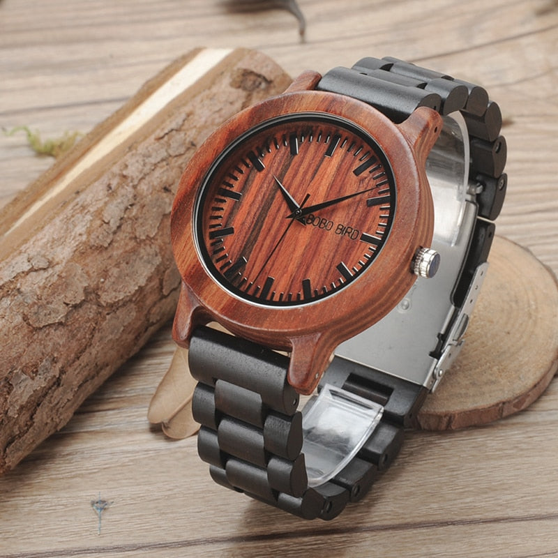 Costbuys  V-M05 Watches Mens Top luxury Two Colors Combination All Wood Quartz Wristwatch