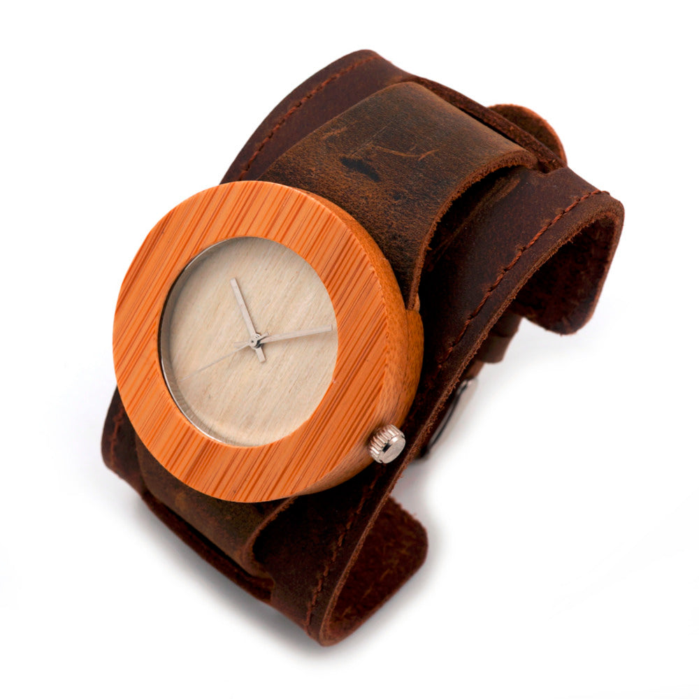 Costbuys  Wood Watch Bamboo Round Wristwatches for Men and Women Move' Wooden Watches as Gifts C-C04 Mens/Womens Quartz Watches