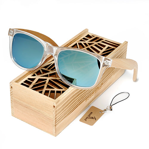 Costbuys  Coated Sunglasses for Men and Women Polarized Bamboo Holder Sun Glasses With Wood Gifts Box Cool Beach Oculos Oval - C