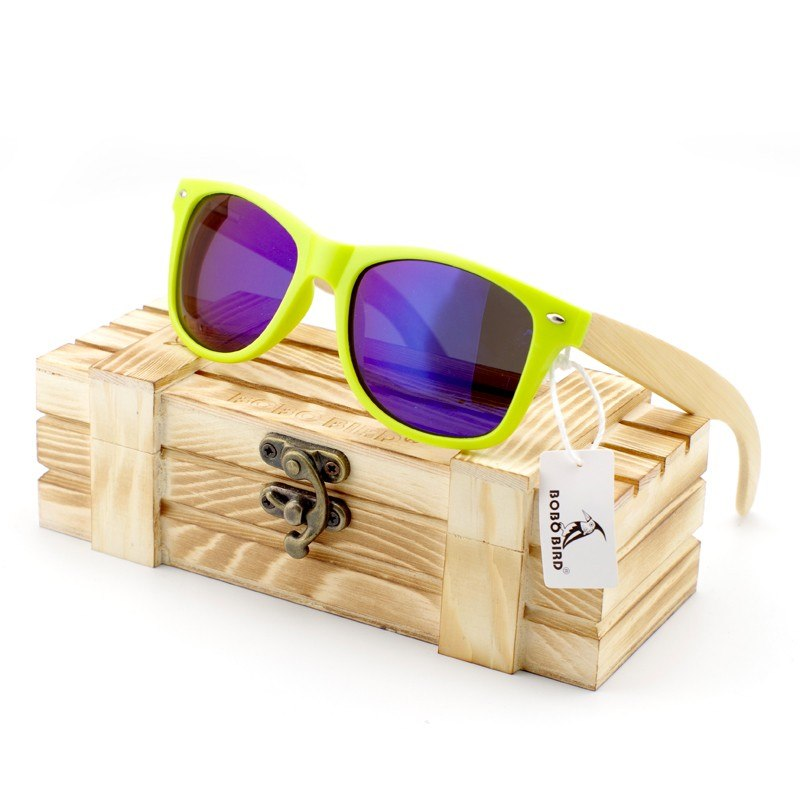 Costbuys  Men Luxury Ladies Bamboo Legs Sunglasses Polarized Glasses Women with Wood Gift Box Oculos Feminino Oval - CG008d-Blue