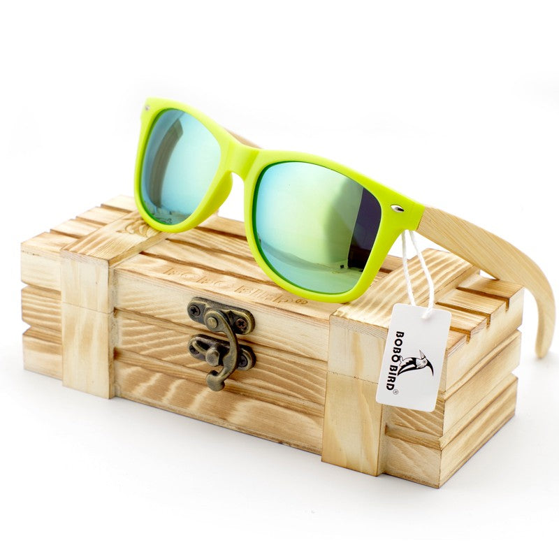 Costbuys  Men Luxury Ladies Bamboo Legs Sunglasses Polarized Glasses Women with Wood Gift Box Oculos Feminino Oval - CG008c-Gree