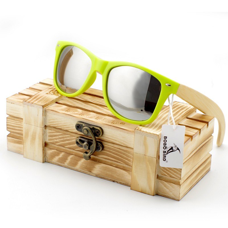 Costbuys  Men Luxury Ladies Bamboo Legs Sunglasses Polarized Glasses Women with Wood Gift Box Oculos Feminino Oval - CG008g-Sliv