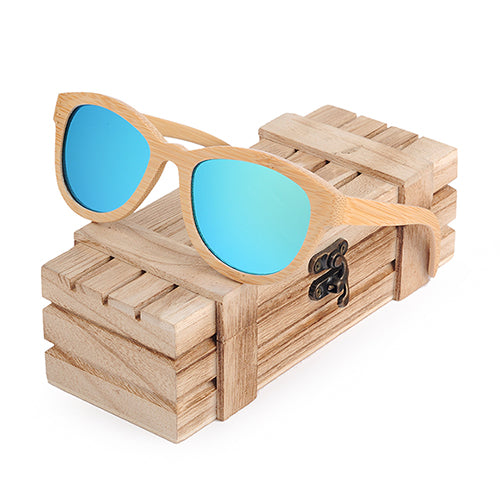 Costbuys  Sunglasses Women Men Polarized Eyewear As Best Gift With Wooden Gift Box oculos - Blue Lens