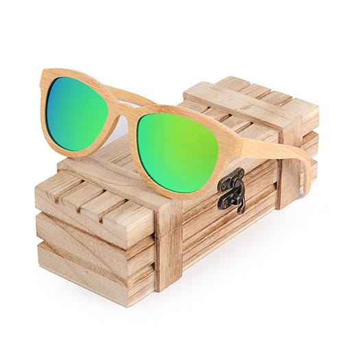 Costbuys  Sunglasses Women Men Polarized Eyewear As Best Gift With Wooden Gift Box oculos - Green Lens