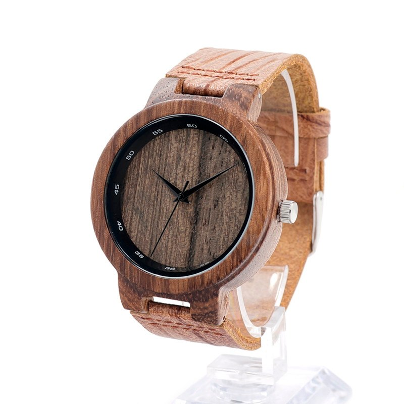 Costbuys  V-D17 Wooden Quartz Watches Men Special Digital Ring with Grain Leather Relogio Masculino Mujer - V-D22