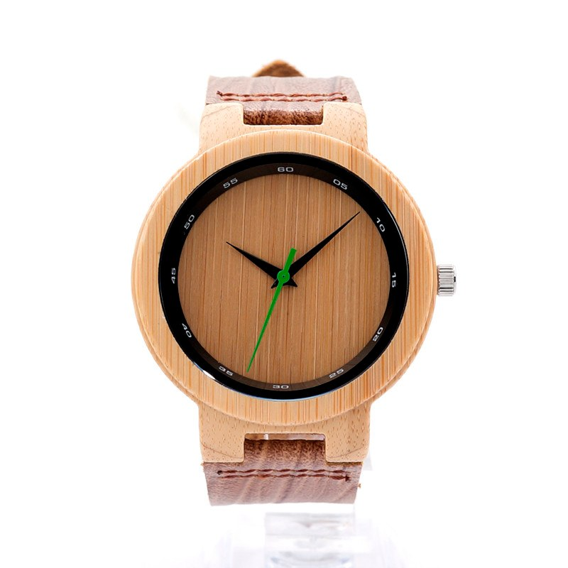 Costbuys  V-D17 Wooden Quartz Watches Men Special Digital Ring with Grain Leather Relogio Masculino Mujer - V-D17