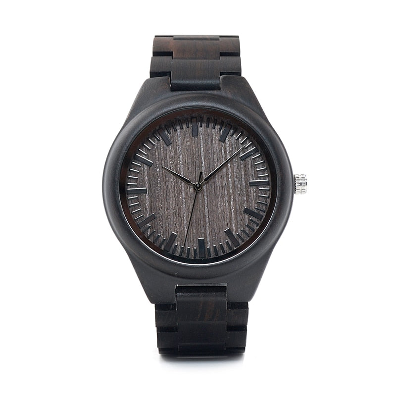 Costbuys  WO08 Designer Wood Watch Ebony Wooden Quartz Watches for Men Watch in Wooden Box