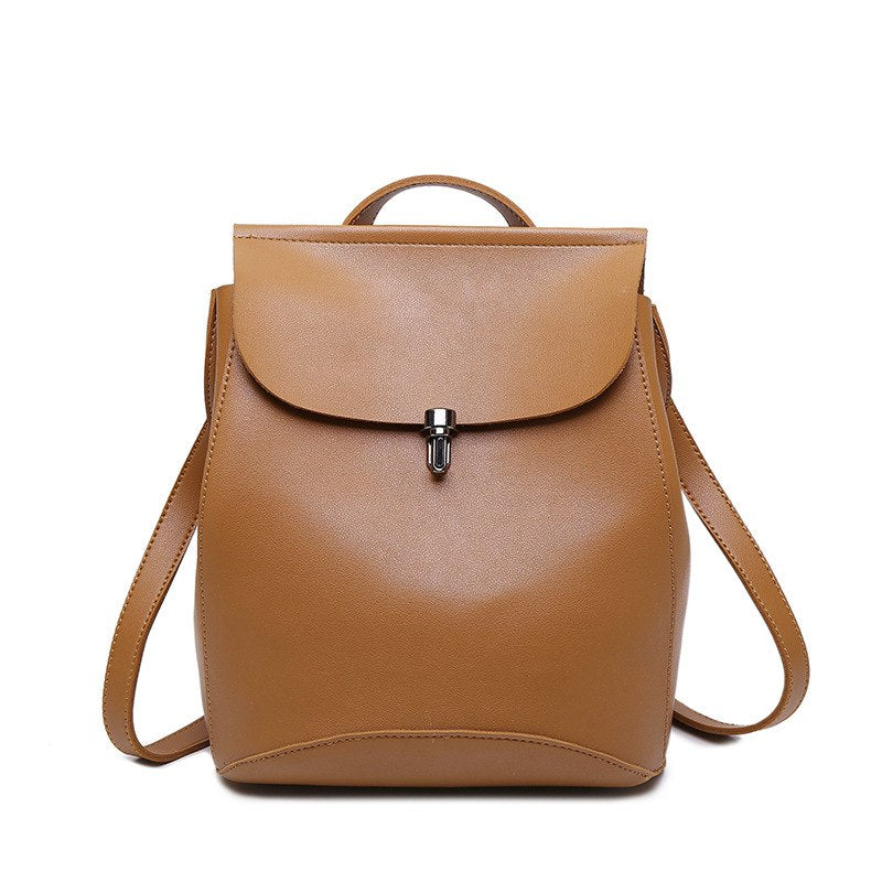 Costbuys  Preppy Style Backpacks For Teenage Girls Women's PU Leather Backpack School Bag Vintage Large Capacity Travel Backpack
