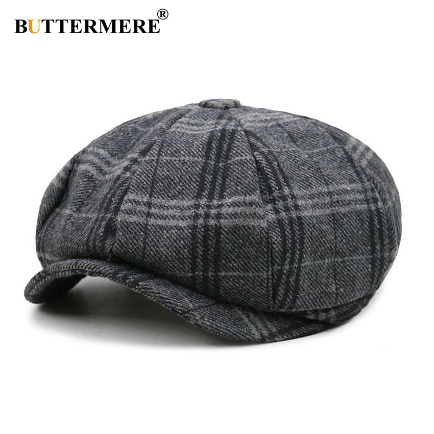 26a4661a Cap Unisex Beret Wool Hat Tweed Gatsby Octagonal Plaid Women Vintage Brand  Winter Spring Duckbill Hats