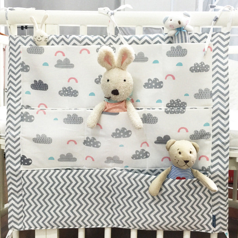 Costbuys  Baby Bed Hanging Storage Bag Cotton Crib Organizer For Newborn Baby Bedding Set Cartoon Pattern Baby Cot Toy Diaper Po