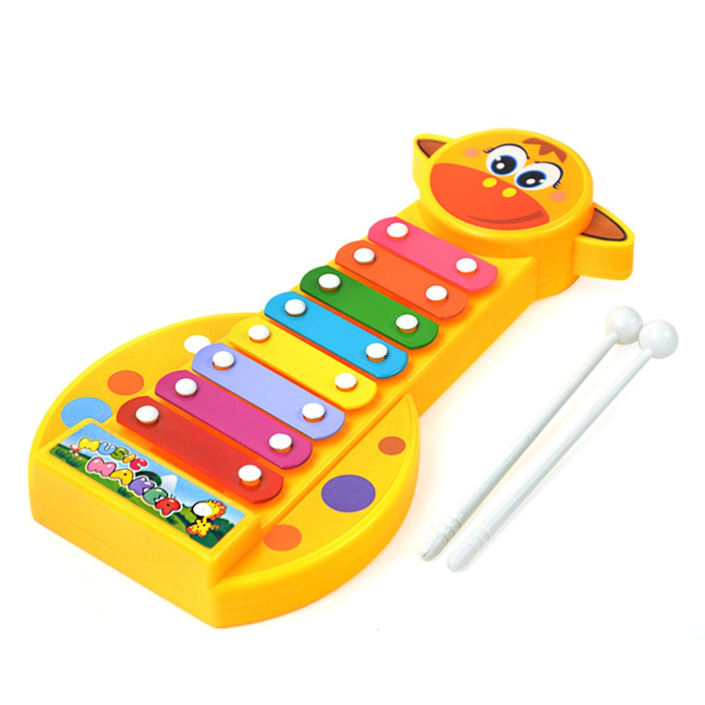 Costbuys  Baby Early Musical Instrument 8-Note Cute Giraffe Hand Knock Piano with Knocking Rods Develop Music Toy for Children M