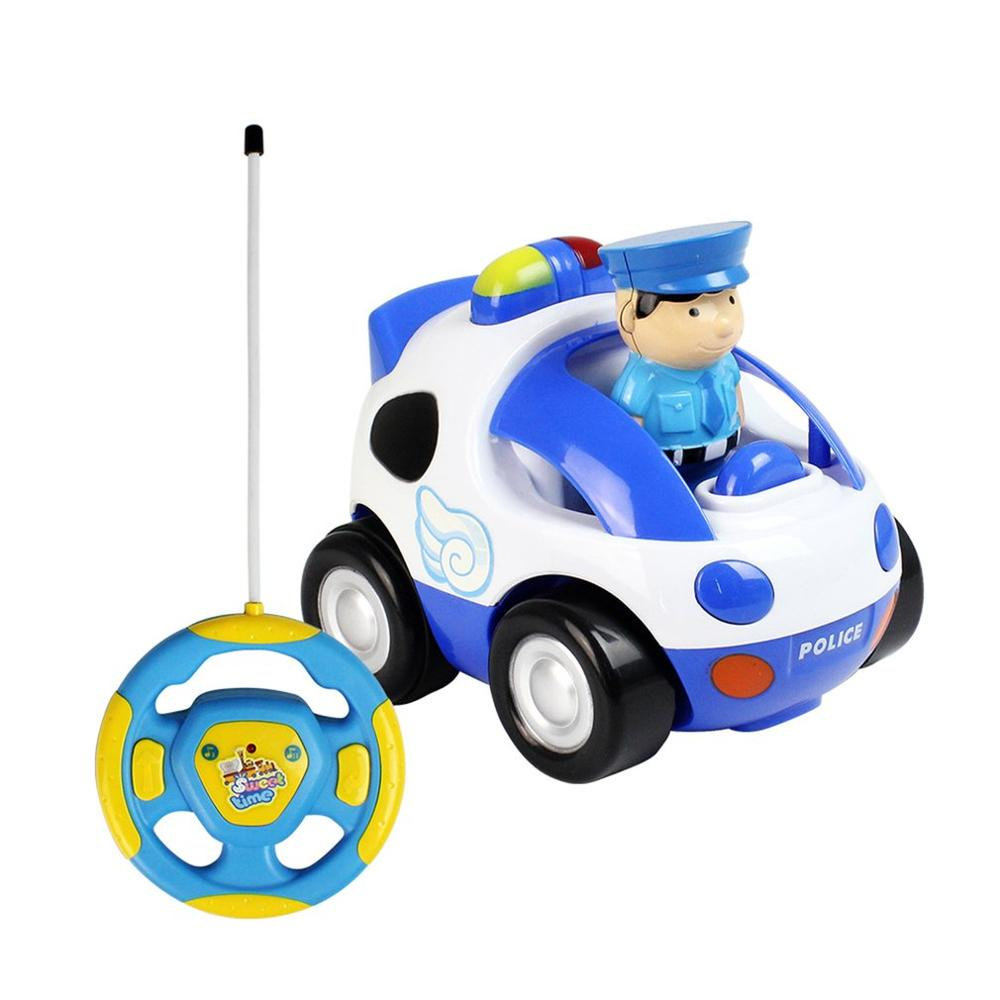 Costbuys  Baby RC Cartoon Race Car Toy with Music and Lights 2 Channels Electric Radio Control Car Model Toys Hobby for Kids Chi
