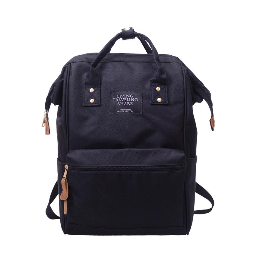 Costbuys  Backpack Women Unisex Travel  Female Laptop Backpack Canvas Schoolbag Escolar Solid Luggage School Bags - Black / Chin