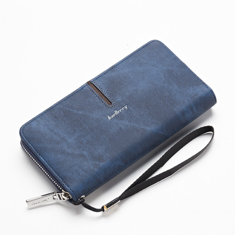 Costbuys  Long Phone Handy Money Bag Clutch Women Men Wallet Male Female Coin Purse Cuzdan For Wristlet Carteras Walet - Blue