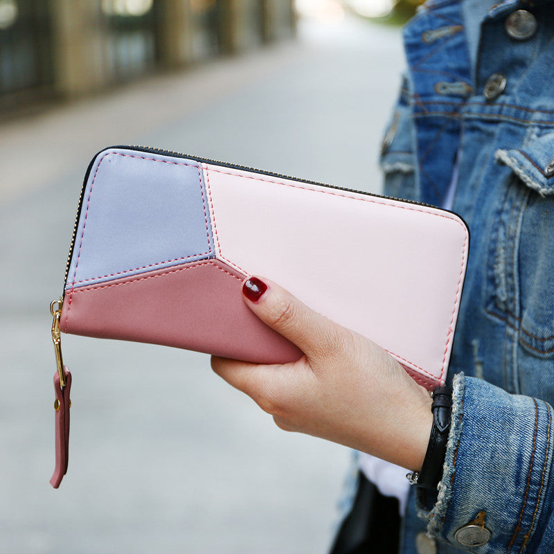 Costbuys  Women Wallets Fashion Patchwork Pattern Wallet High Quality PU Leather Zipper Women's Purse Card Holder Coin Purse - P