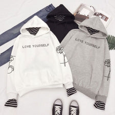Bangtan Boys Kpop Hoodies bts album Love Yourself Sweatshirts Striped Patchwork Hoodies Pullovers Women Winter Clothes A4044