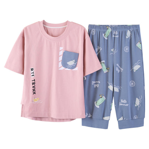 Summer 100% Cotton Women Printed Nightgown Female Casual Outwear Lady Pockets Sleepshirt Girl Pijama Home Clothing Size 3XL