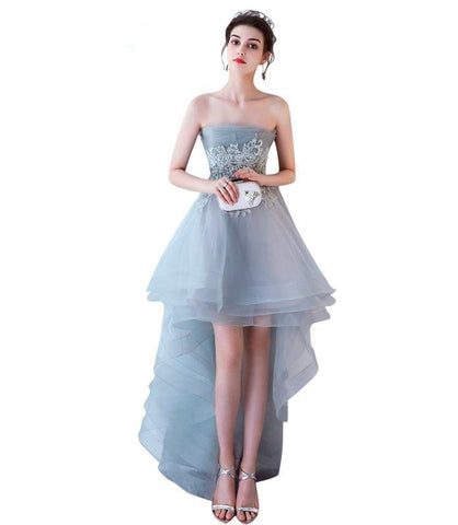 61dfe589337 Grey Evening Dresses Sexy Strapless Tulle Appliques Lace-Up Beach Prom Dress  Built-In Bra Evening Party Gowns