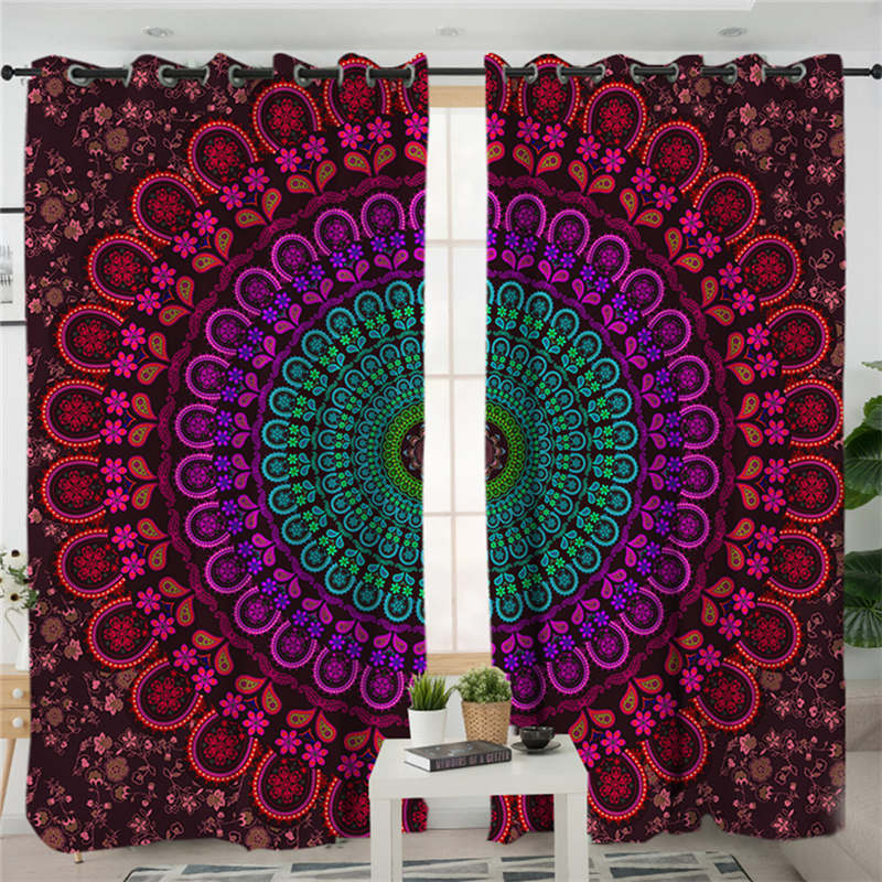 Costbuys  Mandala Living Room Curtains Bohemian Boho Bedroom Curtain Window Treatment Drapes Purple Home Decoration 1/2pcs - A /
