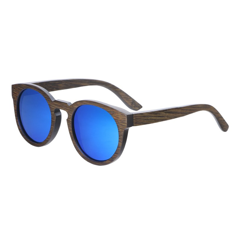 Costbuys  Sun glasses for men and women polarized fashion wooden sunglasses high quality bamboo frame in stock - blue lens