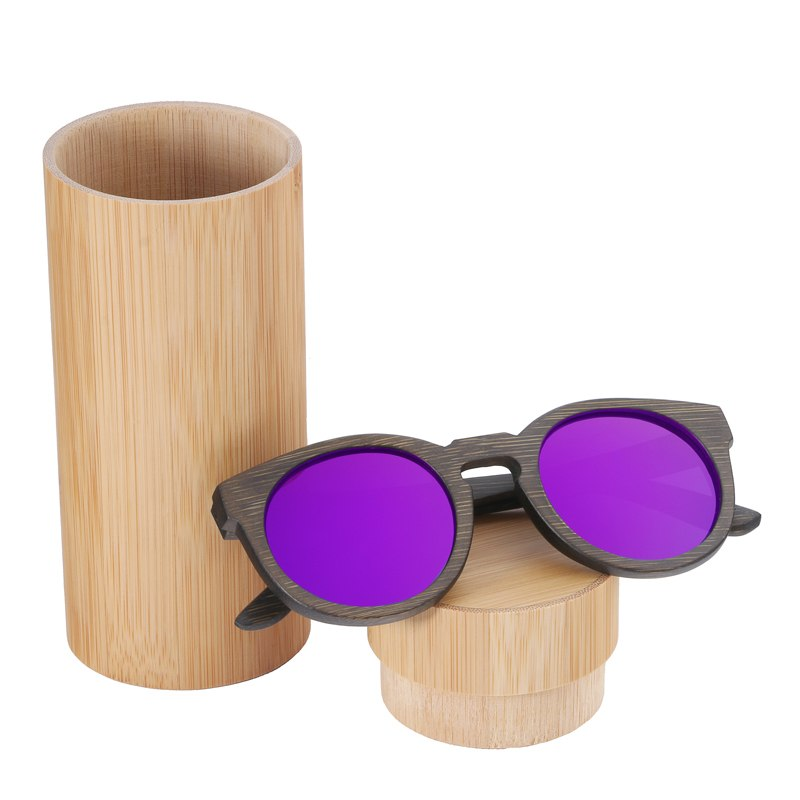 Costbuys  Sun glasses for men and women polarized fashion wooden sunglasses high quality bamboo frame in stock - purple lens wit