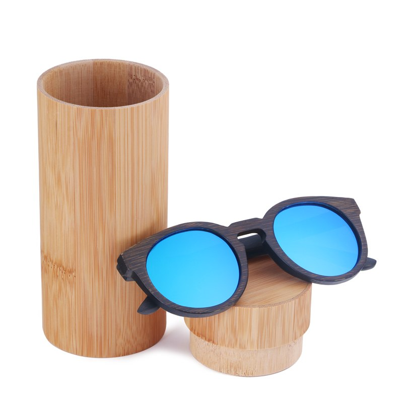 Costbuys  Sun glasses for men and women polarized fashion wooden sunglasses high quality bamboo frame in stock - blue lens withc