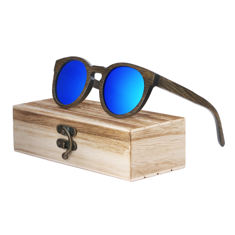 Costbuys  Sun glasses for men and women polarized fashion wooden sunglasses high quality bamboo frame in stock - blue lens with